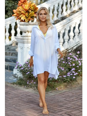 White Oversize Long Sleeves Bikini Cover Up