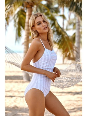 Vertical Stripe Shirring Adjustable Straps Classic One Piece Swimsuit