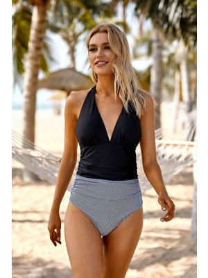 Black And Stripe Halter Plunging Shirring Sexy One Piece Swimsuit
