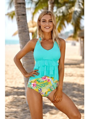 Teal And Floral Halter Layered Ruffle Hem Two Piece Tankini Set