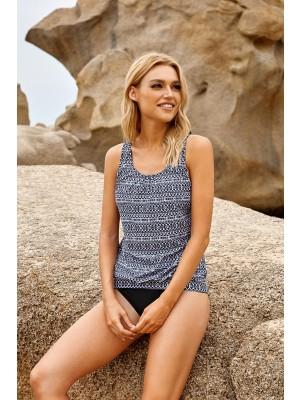 Mix Geometric Adjustable Straps Close-fitting Waistband Scoop Neck Tankini Swimsuit