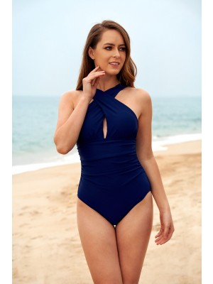 Navy High-Neck Cross-front Shirring One-Piece Swimsuit