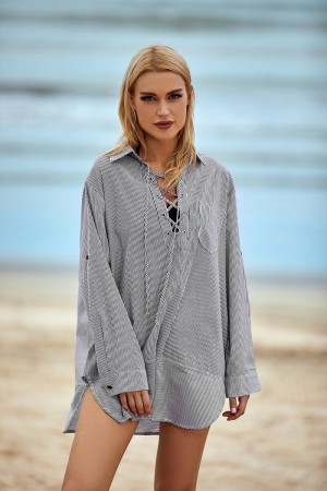 Leisure Lace Up Striped Printed High Low Hemline Cover Up