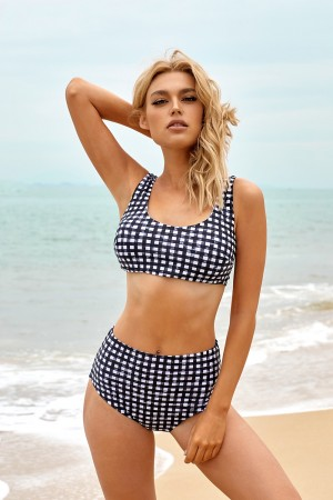 Gingham Scoop Neck Wide Straps High Waisted Two Piece Bikini Swimsuit