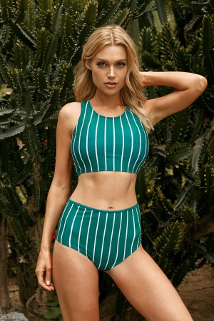 Vertical Stripe Wide Straps High Neck Cross Back High Waisted Two Piece Bikini Swimsuit