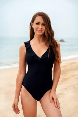 Classical Black V-Neck Ruffle Wide Straps One-Piece Swimsuit