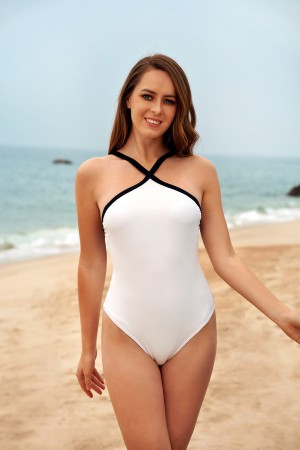 White And Criss-cross Low back Sexy One-Piece Swimsuit
