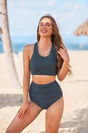 Black Dash Versatile Wide Straps High Neck Bikini Set