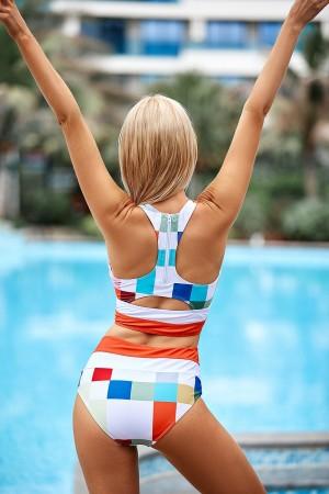 Gingham Colorblock Scoop Neck High Waist Two-piece Bikini Set