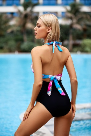 Flower V-neckline Ruched Halter Ties Back Onepiece Swimsuit
