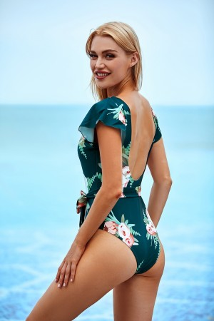 Flower Ruffle V-Neck Front Ties One-Piece Swimsuit