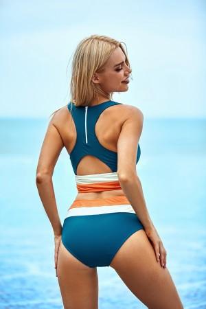 Scoop-Neckline Striped Criss-cross High Waist Two-piece Bikini Set