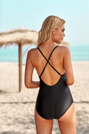 Black Floral Plunging Cutout Strappy Cross Back Adjustable Straps One Piece Swimsuit