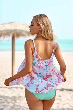 Butterfly Scoop Neck Ruffle Multicolor Two Piece Bikini Set And A Cover Up