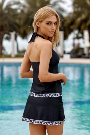 Black Halter Neck Contrast Shirring Asymmetric High Waisted Tankini Set