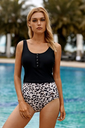 Black Button Front Scoop Neck And Leopard High Waisted Tankini Set