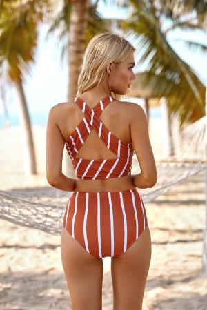 Red Stripe High Neck Cross Wide Straps High Waisted Two Piece Bikini Set