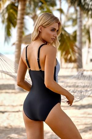 Stripe And Black Twist-front V-neck Adjustable Straps One Piece Swimsuit