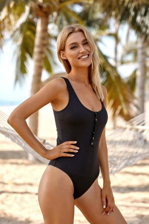 Black Button Front Scoop Backless Wide Straps One Piece Swimsuit