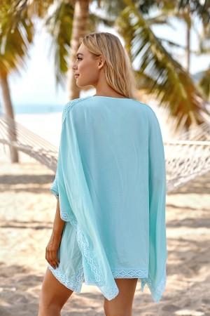 Bohemian Aquamarine Half Sleeve Bikini Cover Up