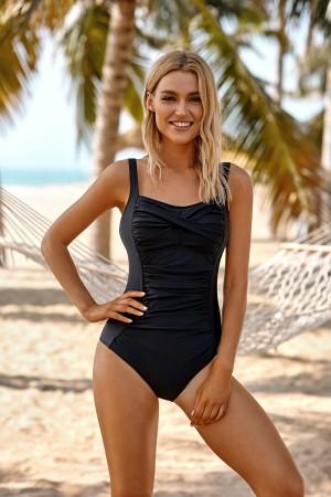 Black Twist Shirring Adjustable Straps One PieceSwimsuit