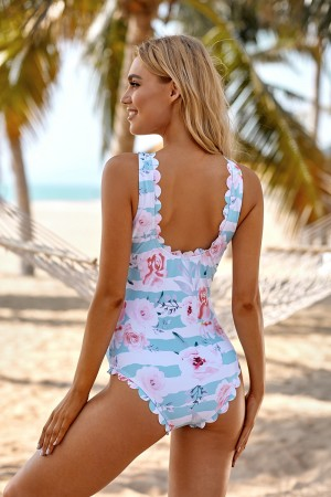 Floral And Stripe Print Knot Front V-neck Scalloped One Piece Swimsuit