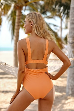 Orange Ruched Plunging Cutout Wide Straps One Piece Swimsuit