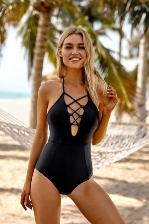 Black Lace Up Halter Plunging Cutout Strappy One Piece Swimsuit