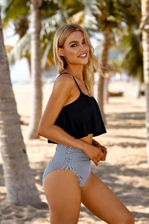 Black Ruffle Shirring Adjustable Straps And Stripe High Waisted Two piece Bikini Swimsuit