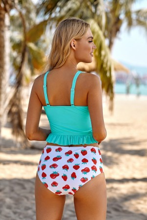 Teal And Strawberry Print Ruffled Adjustable Straps Two Piece Tankini Set