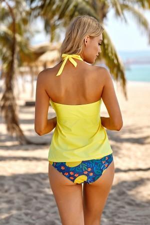 Yellow And Fruit Print Halter Shirring Two Piece Bandeau Tankini Set