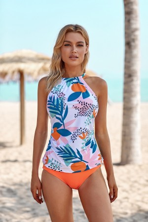 Abstract Floral Cross Back High Neck And Orange High Waisted Tankini Set
