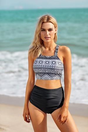 Geometric Square Neck Wide Straps And Black High Waisted Bikini Swimsuit