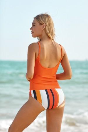 Orange And Stripe Knotted Adjustable Straps High Waisted Tankini Set