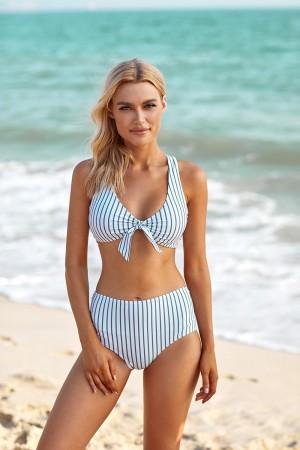 Stripe Knotted Cross Wide Straps High Waisted Two Piece Bikini Set