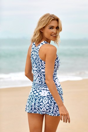 Geometric Shirring Wide Straps Racer Back Two Piece Tankini Swimsuit