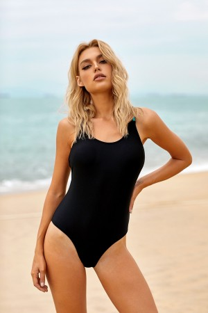 Black Scoop Neck Colorful String Strappy Cross Back One Piece Swimsuit