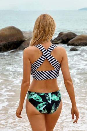 Stripe Scoop Wide Straps And Leafy Mid Waisted Bikini Swimsuit