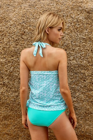 Mint Plunging Cutout Layered Halter Wrap Knotted Two Piece Tankini Set