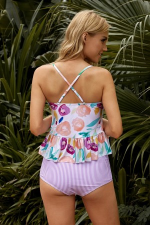 Floral Adjustable Cross Straps And Stripe High Waisted Tankini Set
