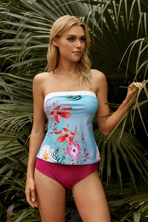 Floral And Red Strapless Wide Top Band Bandeau Two Piece Tankini Swimsuit