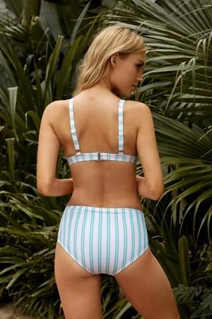 Vertical Stripe Adjustable Straps Knotted Cutout Mid Waisted Bikini Set
