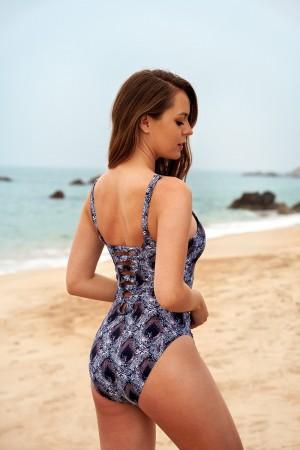 Plunging Neckline Adjustable Strap Open Back One Piece Swimsuit