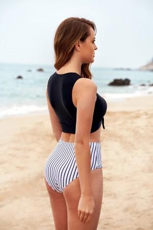 Vertical Stripe High Neck Tie Front High Waist Two-piece Bikini Set