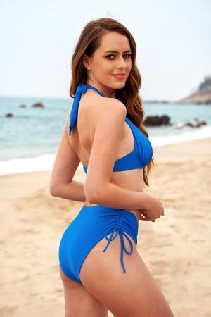 Ruched Halter Adjustable Straps Drawstring Low Waist Two-piece Bikini Set