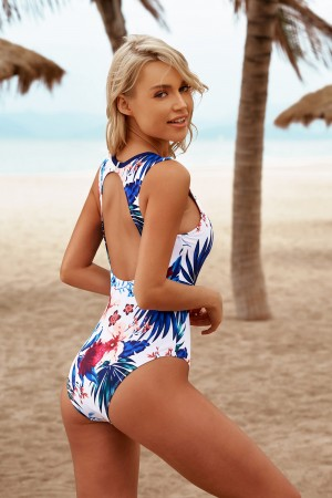 Floral High Neck Open Back Fashion One Piece Swimsuit