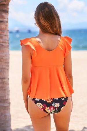 Ruffled Shoulder Floral Deep V- Neckline High Waist Two-piece Tankini Set