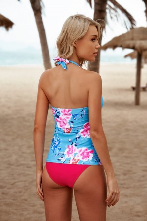 Floral Halter V-neck Low Waist Perfect Two Piece Tankini Set
