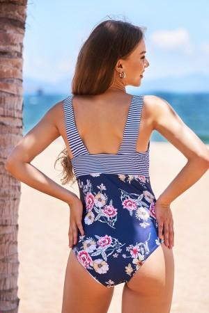Floral Pinstripe Square Neckline Classic One-Piece Swimsuit