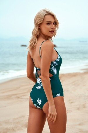 Floral Spaghetti Straps Adjustable Strap Ties One-Piece Swimsuit